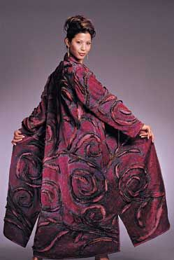 Katherine Sylvan, Arabesque, 2003, fiber. OMG! Cut out and sew a Kimono, then felt it by machine! This would be quite a challenge, but certainly do-able!