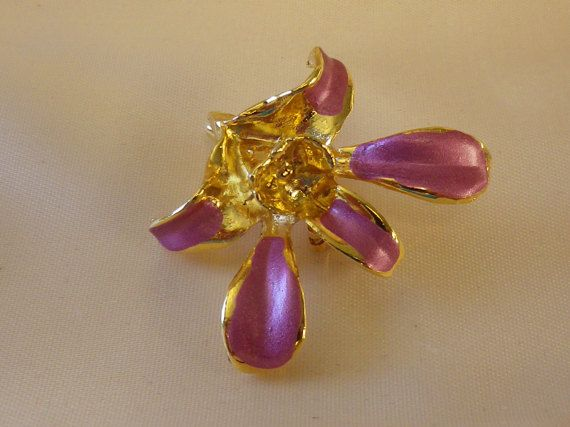 Vintage Gold Plated Enamel Singapore Orchid by EternalElementsEtsy