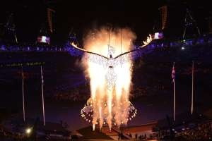 The Olympic cauldron is dismantled during the closing ceremony of the 2012 London Olympic Games on August 12, 2012 at the Olympic stadium in London. Rio de Janeiro will host the 2016 Olympic Games.