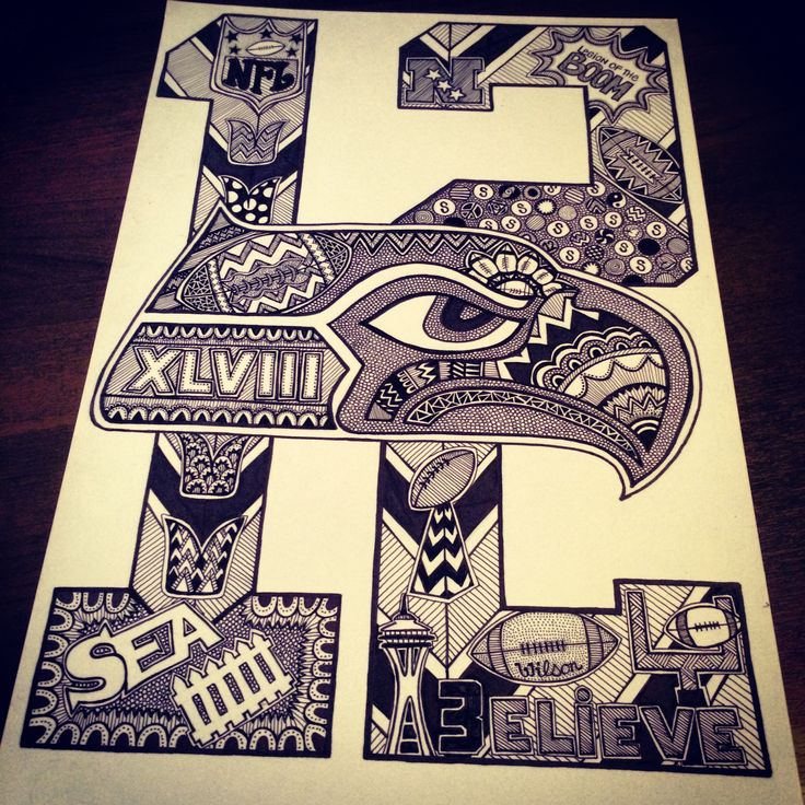 Seahawks Doodle/Art!  Zentangle, Doodles, Sharpies, 12th Man, Go Hawks, Seattle Seahawks, Drawings, Super Bowl Bound