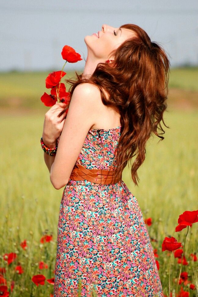 #poppies #redhair #flowers #dresses #nature #hairstyle