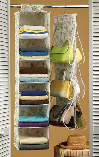 33 Storage Ideas to Organize Your Closet and Decorate with Handbags and Purses replace folded clothes w handbags, wallets etc