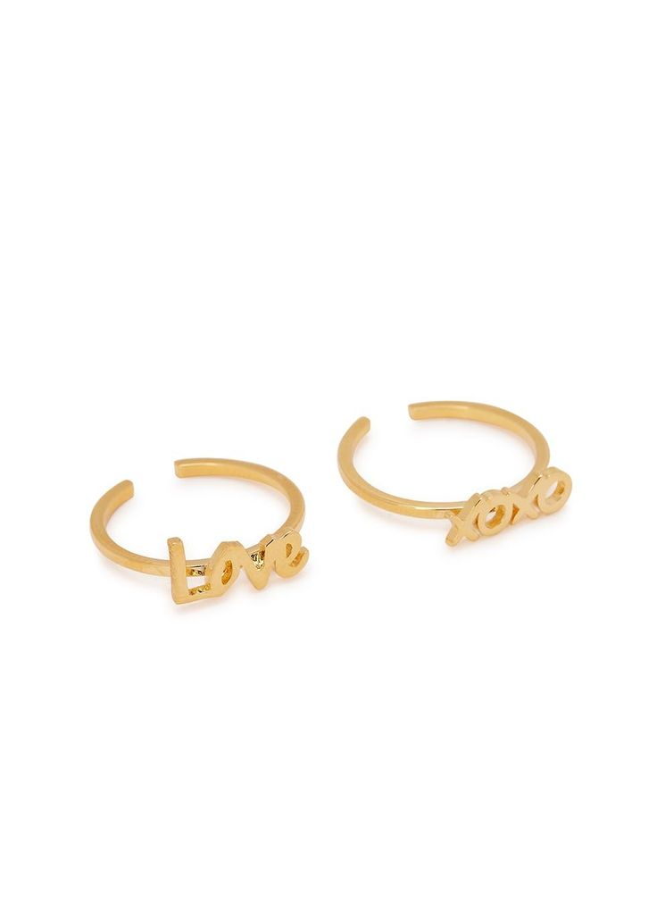 Hand-finished  MFP-MariaFrancescaPepe 23kt gold-plated midi rings Set of two Adjustable, LOVE and XOXO designs Presented in a designer-stamped pouch