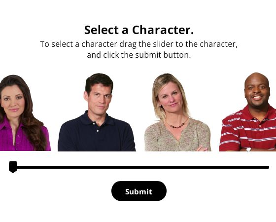 This template allows you to select a character using a slider.  View the demo: Character Slider