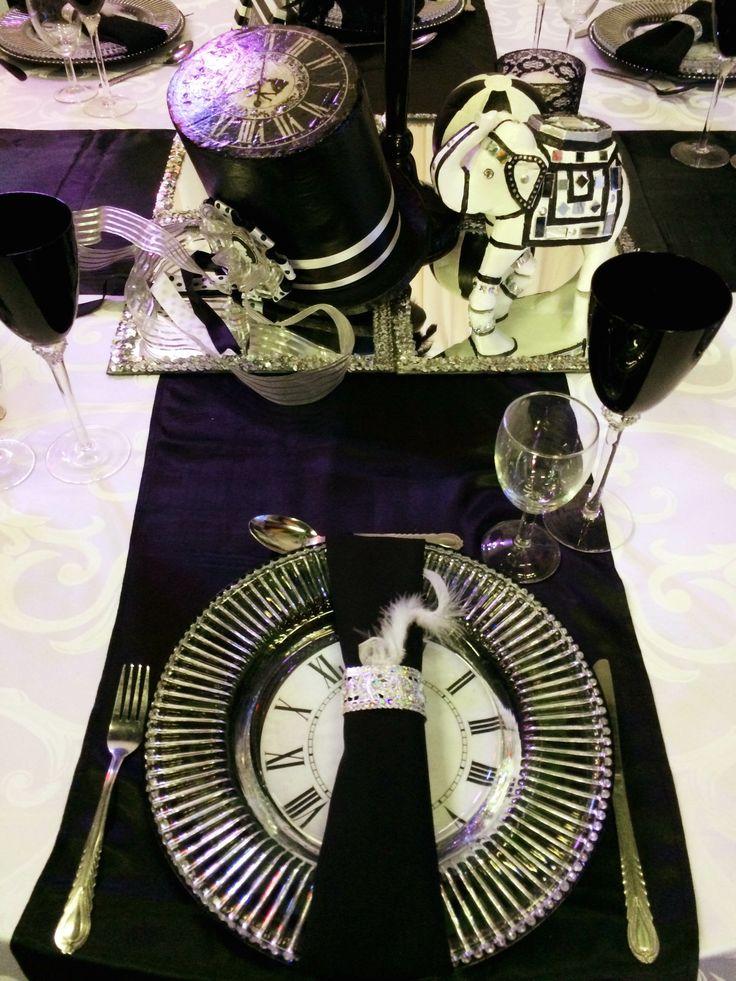 Elegant black & white table setting - www.unlimitedevents.co.za
