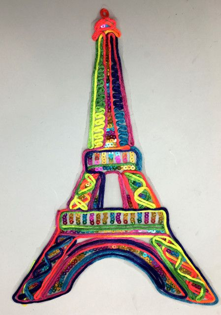 """Eiffle Tower Embroidered Applique with Multi-colored Yarn 13"""" x 9.5"""""""