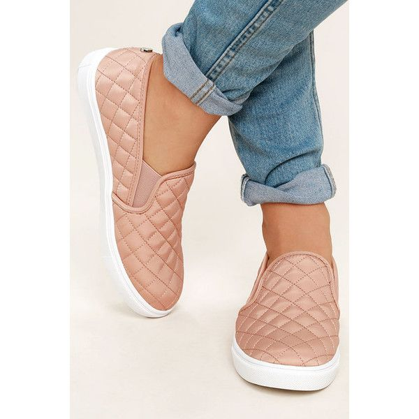 Steve Madden Ecntrcqt Blush Quilted Slip-On Sneakers ($59) ❤ liked on Polyvore featuring shoes, sneakers, pink, pink shoes, rubber slip on shoes, slip on sneakers, steve-madden shoes and quilted sneakers