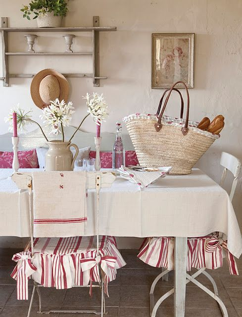 Kate Forman   Kate Forman Fabric Collection   Classic country house dining  room settiing with red striped seating pads  a plain white tableclothand red   86 best Chair skirts images on Pinterest   Chairs  Dining chairs  . Red Dining Room Chair Pads. Home Design Ideas