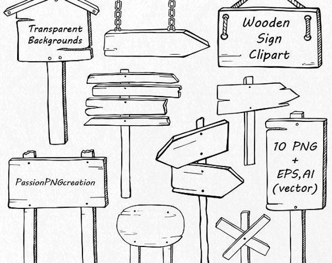 Hand getrokken houten teken Clipart, Doodle ondertekent illustraties, PNG, EPS, AI, vector bestanden, digitale clipart, voor persoonlijk en commercieel gebruik
