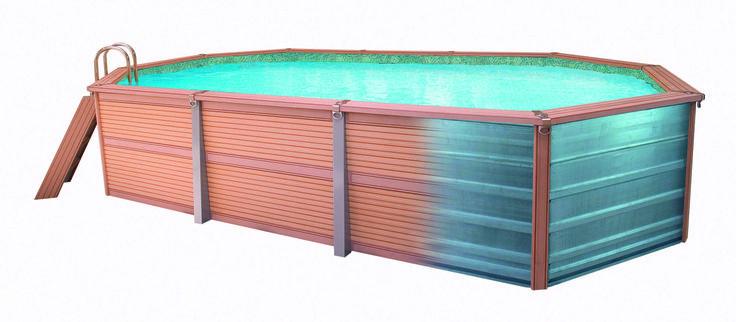 Die AZTECK-#Pools der #Chemoform AG bestehen aus zwei Schichten – dem tragenden Kern aus Stahlplatten und –profilen sowie der Verkleidung aus einem widerstandsfähigen, wartungsfreien #Holz-Polymer-Verbund.
