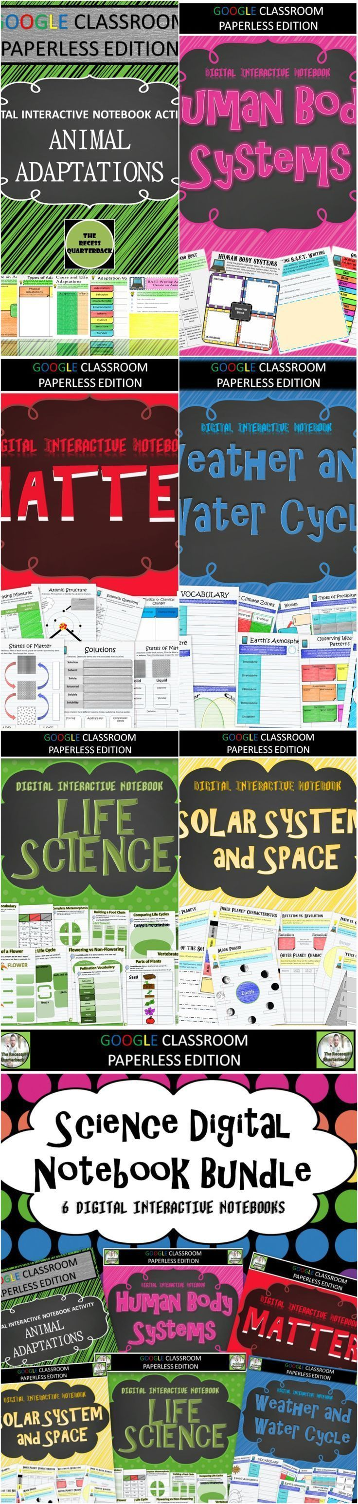 Google Classroom Science Notebook Bundle -   Moving towards a one to one implementation model this school year and need Science resources? This bundle included six different digital interactive notebook products that include the following topics: Animal A