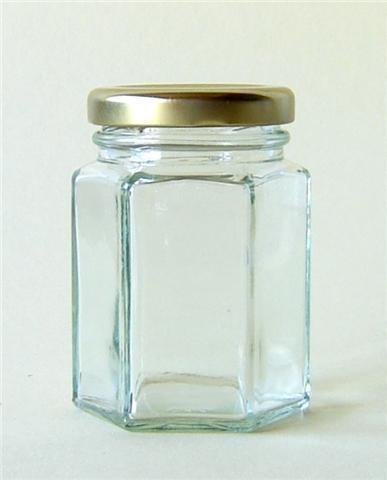 110 X  110ml HEX HEXAGONAL GLASS JAM WEDDING FAVOURS SWEETS JAR