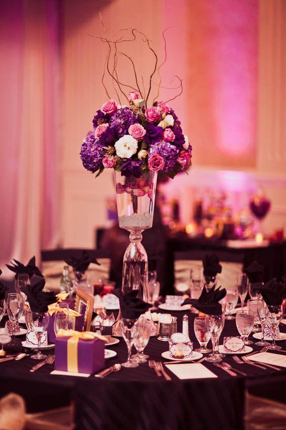 Black christmas decoration, teal christmas table setting ... |Pink And Purple Table Setting
