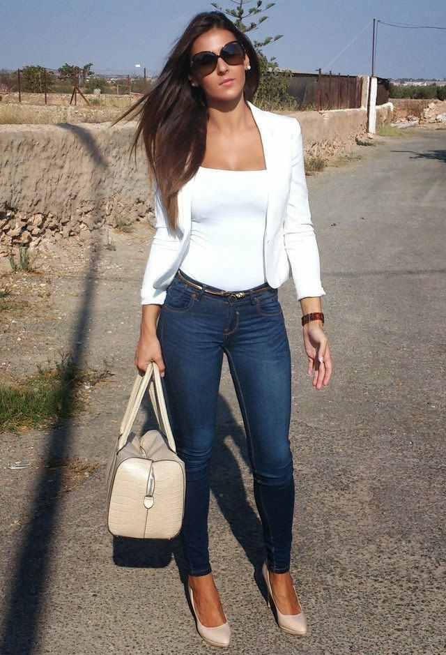 Jeans, white tank and blazer