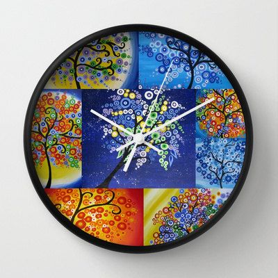 tree of life art on clock wall clocks blue red green yellow multi colored coloured multicoloured bright design rainbow trees beach beachouse...