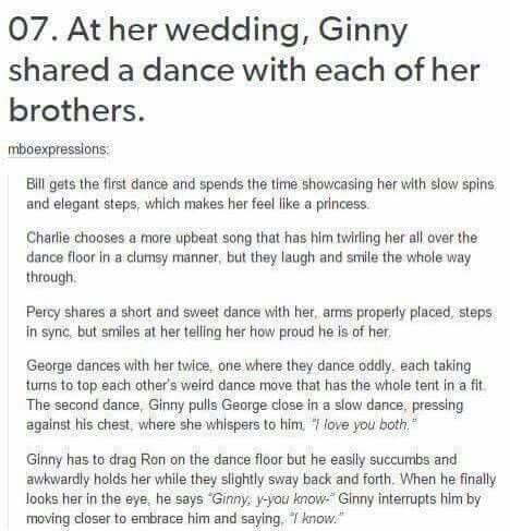 Ginny dancing with her brothers at her and Harry's wedding ❤️