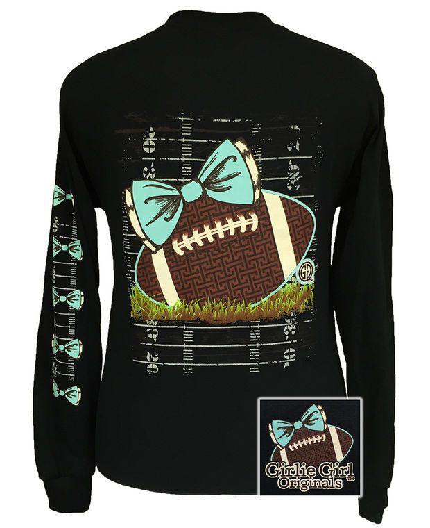 Girlie Girl Originals Preppy Football Team Big Bow Long Sleeves Bright T Shirt