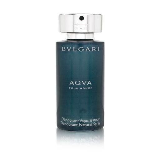Aqva Pour Homme By Bvlgari  Deodorant Natural Spray, 3.4-Ounce by BVLGARI. $23.95. Possesses a blend of mandarin, santolina, posidonia, and amber. This item is not for sale in Catalina Island. Net quantity of 3.4 ounces. An enticing, fresh, and masculine all at the same time. Bvlgari Aqva Pour Homme by Bvlgari is an enticing, fresh, and masculine all at the same time. This masculine scent possesses a blend of mandarin, santolina, posidonia, and amber.. Save 64%!