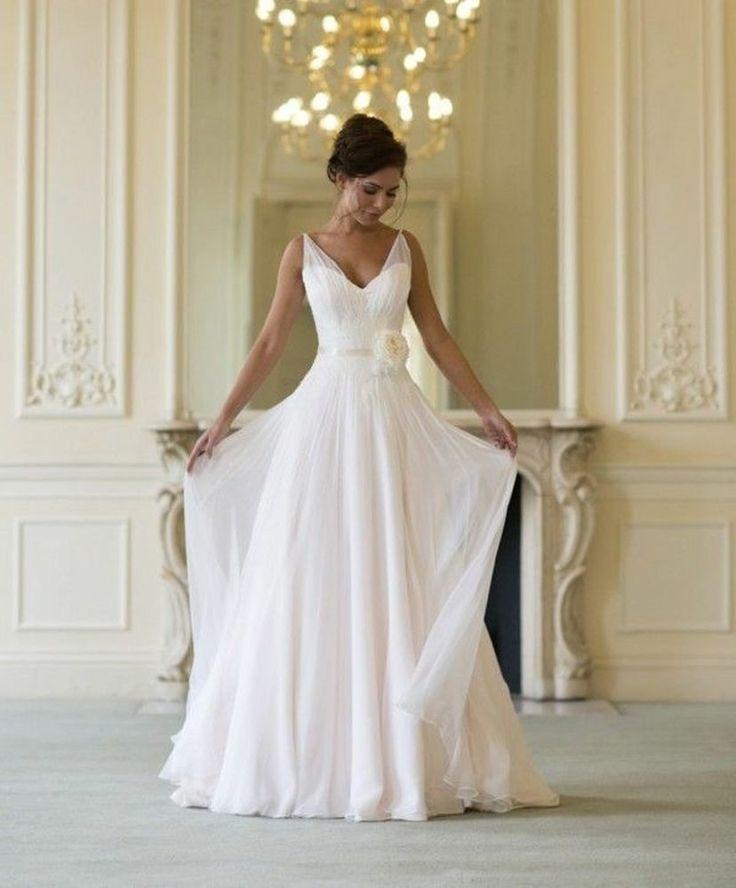 Vintage Straps Chiffon White Ivory Bridal Gown Wedding