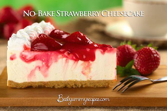 No-Bake Strawberry Cheesecake - http://www.thinkarete.com/bake-strawberry-cheesecake/