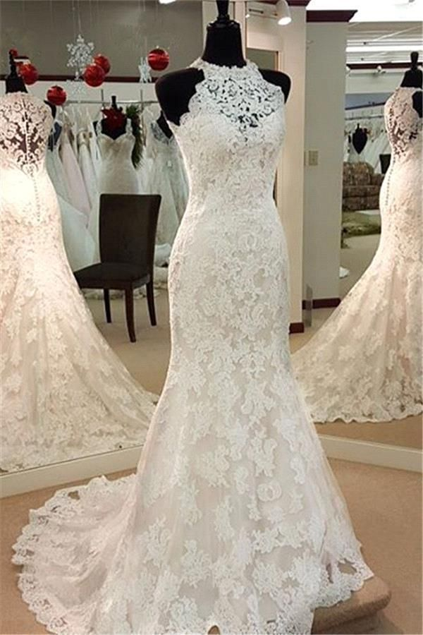 2016 Sexy Sheer Neck Full Lace Mermaid Wedding Dresses Halter Neck
