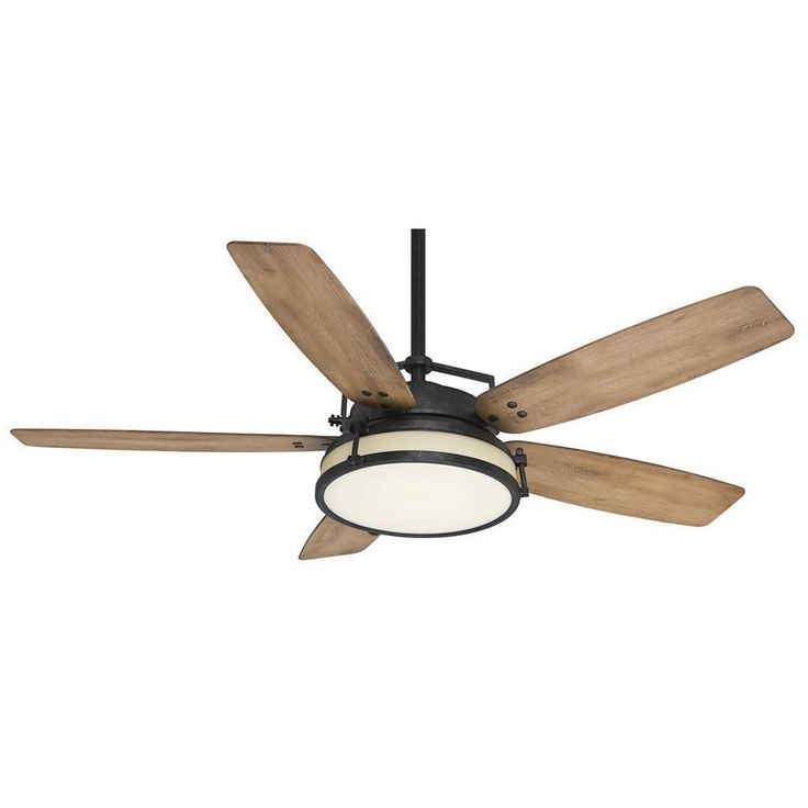 The distressed oak blades and white glass of this Casablanca lamp contrast dramatically with the black detailing for a look that is both sleek and rustic. The ceiling fan comes with a wall control unit for easy operation.