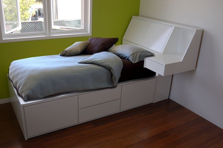 White Twin Platform Bed Frame And Headboard With Storage Also Floating Side Table  is also a kind of Twin Bed Storage Drawers