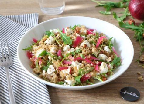Une super recette de Salade printanière de quinoa aux pickles maison par Foodette
