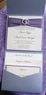 Pocket Fold Wedding Invitation in Silver and Lavender with oval Rhinestone Buckle and Satin Ribbon - By The Satin Bow