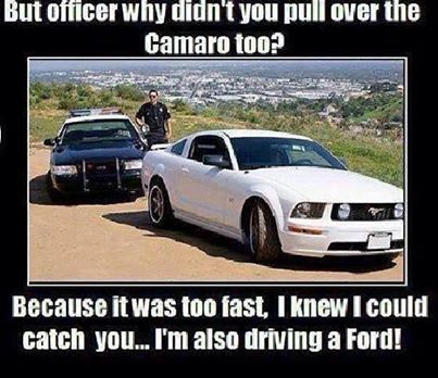 Funny until I noticed that the white car is a dodge not a Ford like the police car & Best 25+ Ford jokes ideas on Pinterest | Chevy vs ford Ford memes ... markmcfarlin.com