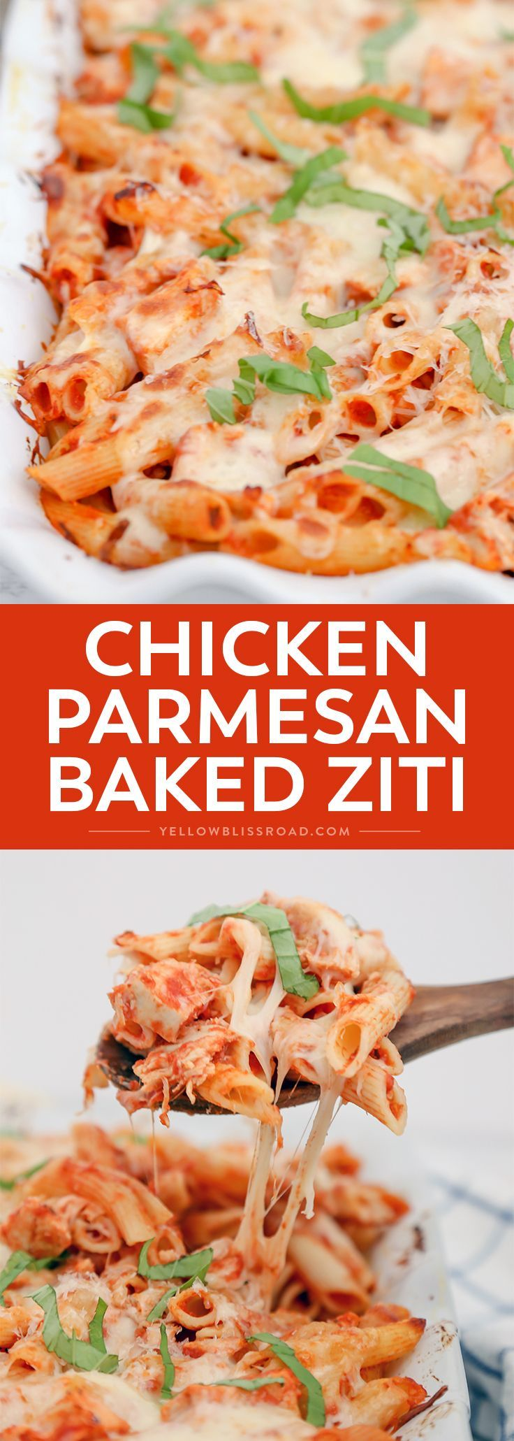 This Chicken Parmesan Baked Ziti is a quick and easy meal to whip up on a busy weeknight, and still classy enough for Sunday dinner. (Italian Recipes Ziti)