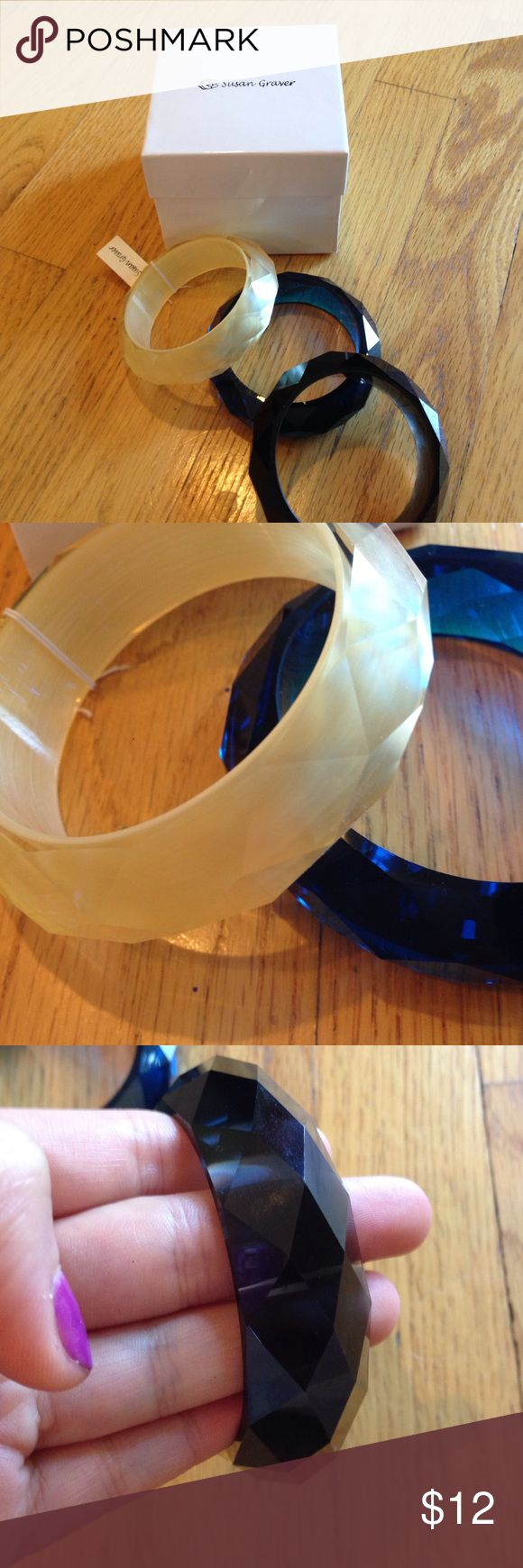 3 Piece Bracelet Set by Susan Graver Three piece chunky bracelet set by Susan Graver. Colors include white/opal, navy, and black. Susan Graver Jewelry Bracelets