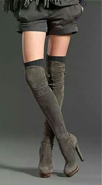 Gray Thigh High Boots