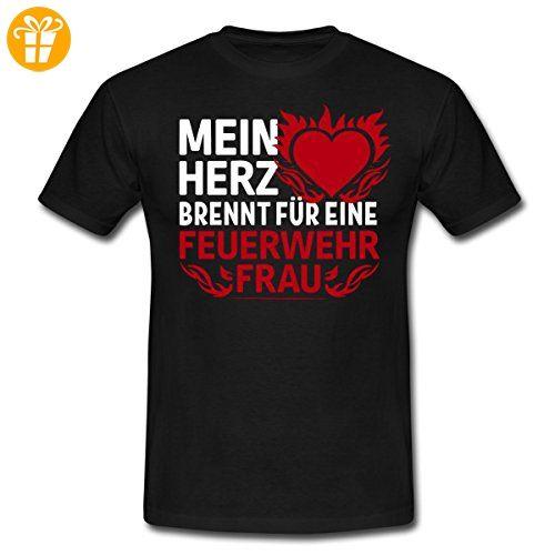 Feuerwehr Herz Brennt Für Feuerwehrfrau Männer T-Shirt von Spreadshirt®, S, Schwarz - Shirts mit spruch (*Partner-Link)