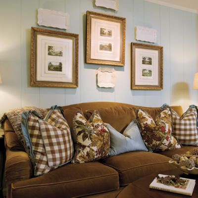 NINE + SIXTEEN: Still One of My Favs - love the beautiful pillows on the velvety looking sofa in the room.