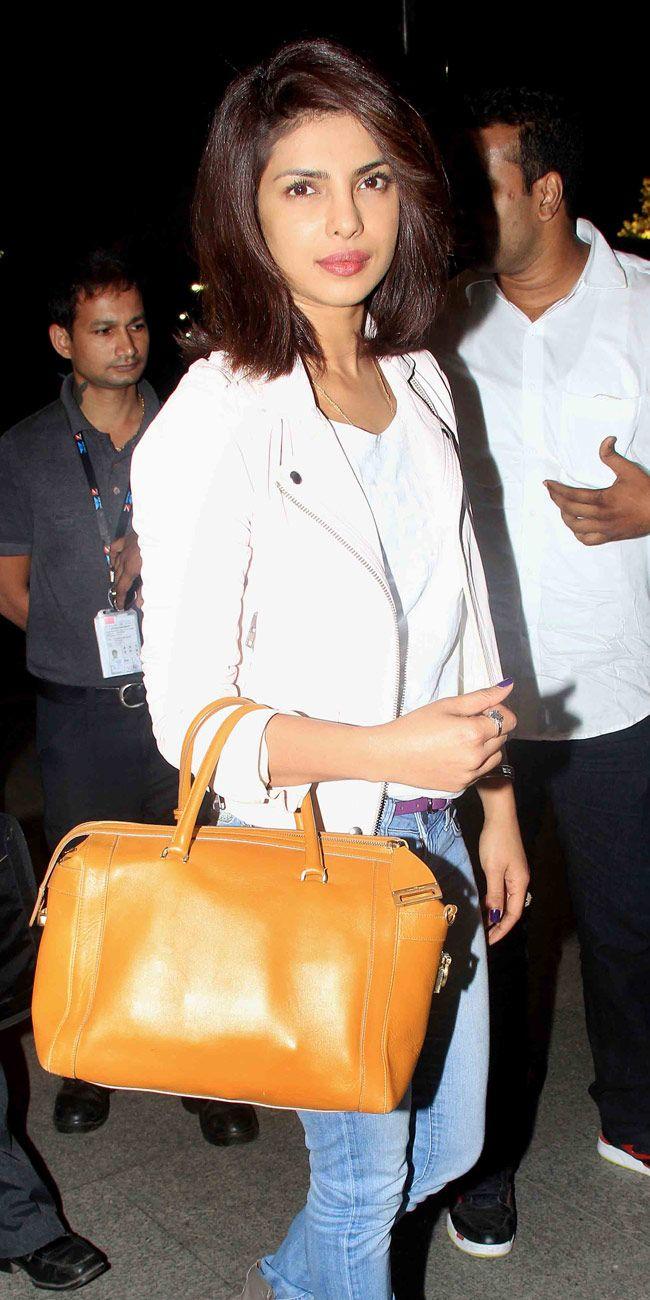 Priyanka Chopra at the Mumbai airport. #Bollywood #Fashion #Style #Beauty