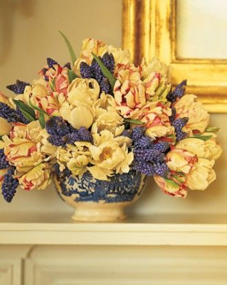 "See the ""Tulips and Muscari in China Bowl"" in our Easter and Spring Centerpieces	  gallery"