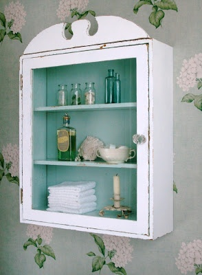white on the outside aqua on the inside of the cabinet. #DIY