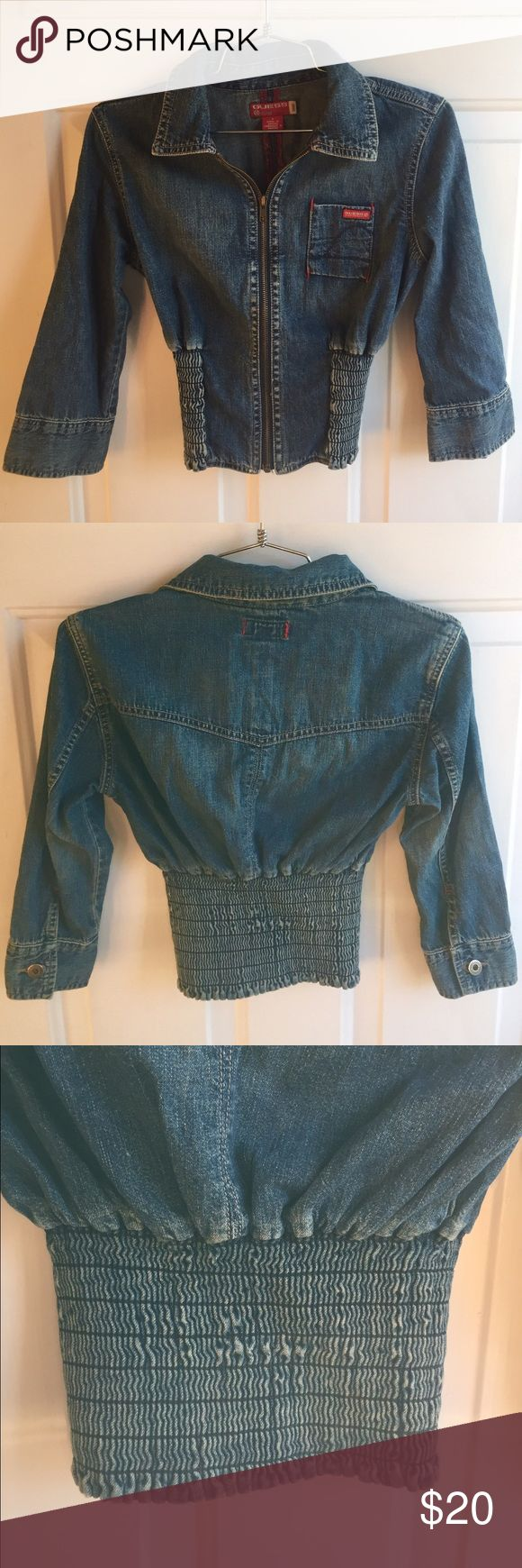 Guess Denim Jacket Light weight denim zip up jacket. 3/4 Sleeves with a ruched elastic waist. Worn but in great condition! Guess Jackets & Coats Jean Jackets