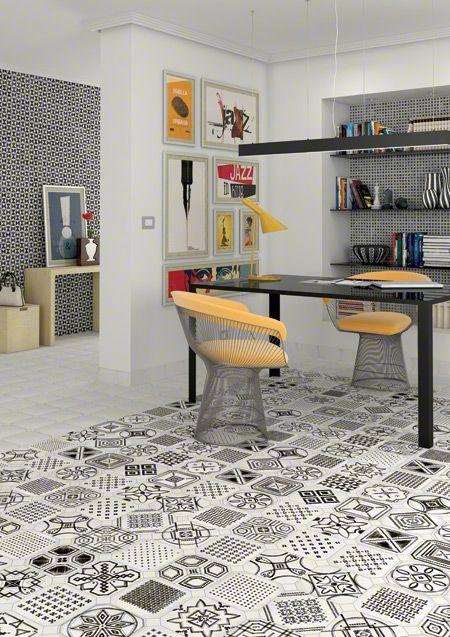Vintage Black and White Octagonal Tiles