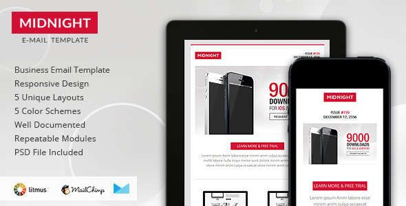 180 Absolute Best Responsive Email Templates - Midnight - Premium Responsive HTML Email Template