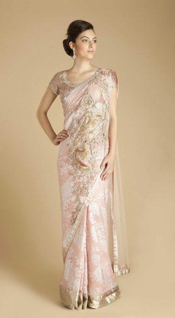 Gaurav Gupta Peacock motif sari