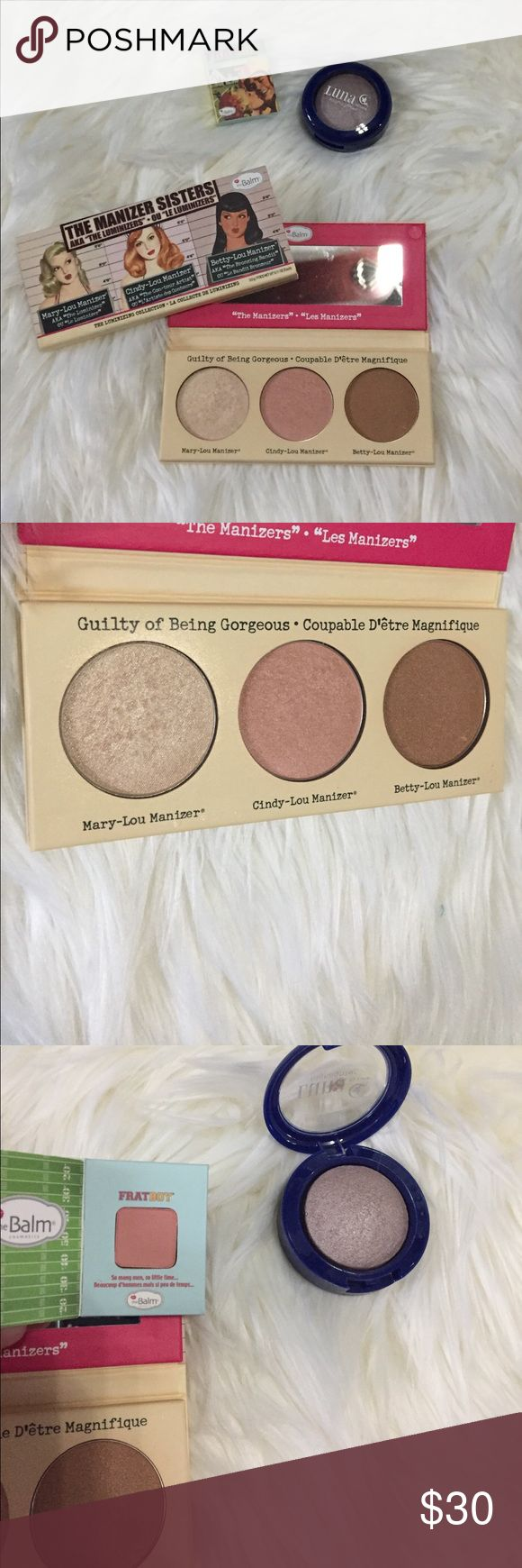 The Balm Manizer Sisters Highlight & Blush Bundle The manizer sister bronzer blush and highlight. Minimally used. 95% there. Luna Cosmetic highlight rose mini. Frat boy blush unused the balm cosmetics Makeup Luminizer