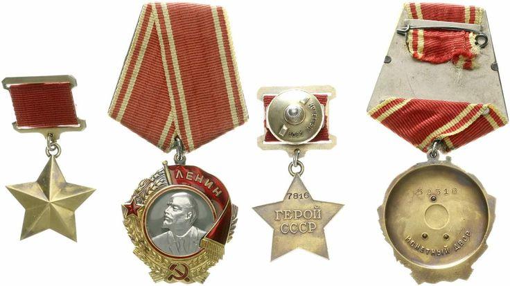 Russland Sowjetunion 1917-1991: Stern Held der Sowjetunion (Gold ca. 20 Karat an Bandspange) und Leninorden (900er Gold und 750er Platin, an Bandspange, Gesamtgewicht 47,1 g.)