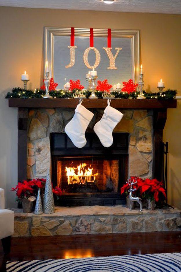 DIY Christmas Decorations for Home and for Inside! The Joy of Christmas Mantel | http://diyready.com/our-20-favorite-mantel-decorating-ideas-christmas-mantel-decor/