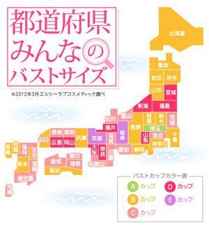 平均バストサイズ日本地図