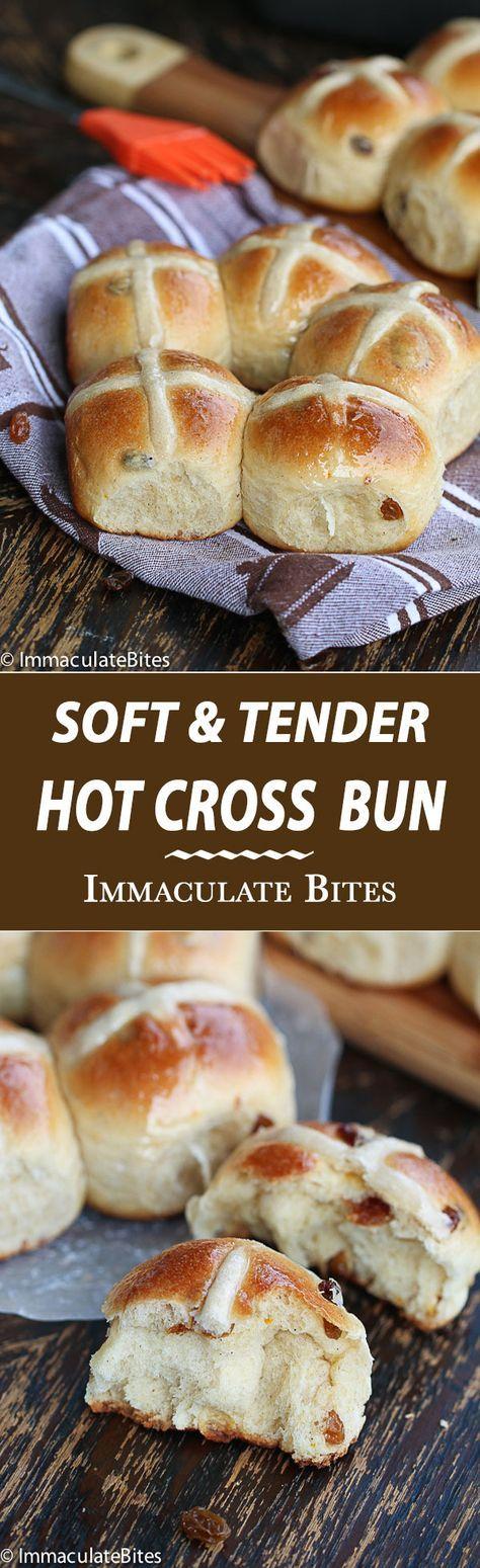 Hot Cross Buns Recipe- Soft, tender and lightly spiced brushed with sweet syrup and filled with juicy raisins. Absolutely delightful anytime!