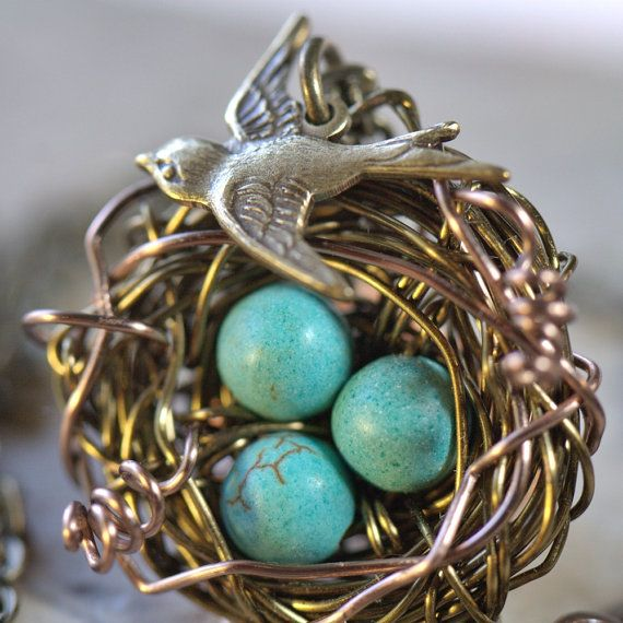 Birds nest Necklace U choose number of Turquoise egg beads. Silver or in Rustic brown kids Expecting Mom Birdsnest birdnest. Summer Fashion