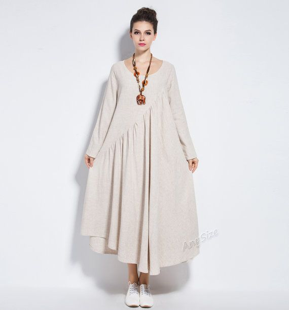 Anysize NEW VERSION with sides seam pockets vogue linen&cotton maxi dress plus…