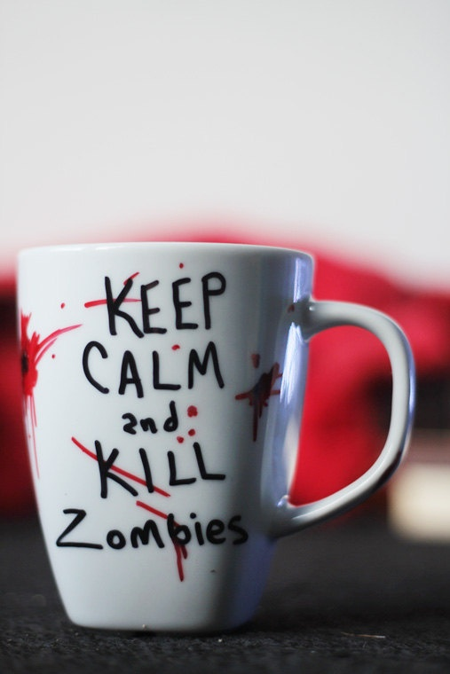Do this yourself with glass mug, sharpies and put in microwave for 45 sec to set permanently--Zombie Mug. $10.00, via Etsy.